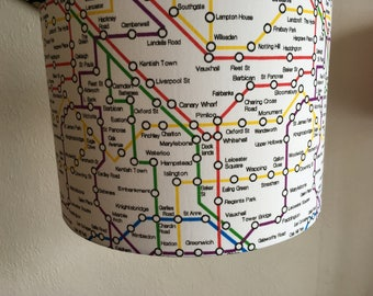 Handmade lampshade in London Underground fabric, various suzes and coloured linings