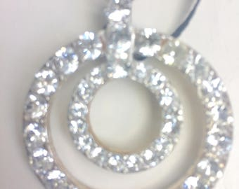 Vintage Two Rhinestone Circle Pendant Necklace with Ribbon