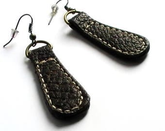 Leatherette Brown, dangle earrings