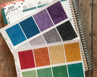 Glitter Full Box Stickers for use in Vertical Erin Condren Life Planners!