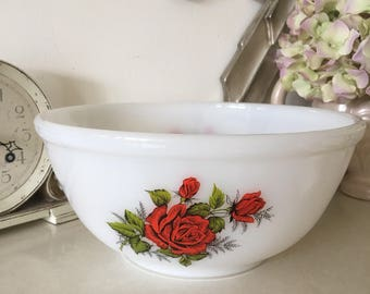Phoenix Opalware, Pyrex, Red Rose Bowl 22.5cm Diameter