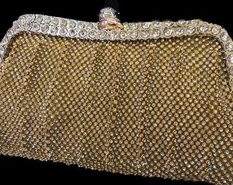 New Gold Mesh  Rhinestone Evening Clutch Bag