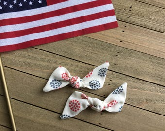 4th of July Bows, Liberty Collection \\ The Claire Bow // in Red and Blue Star, Fourth of July Bow, 4th of July baby headband