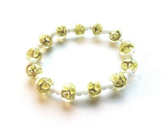 Handmade Yellow Lampwork Glass Beads and White Glass Cats Eye Beads Stretch Bracelet, Wedding, Bride, Boho, Bohemian
