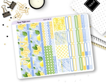 6004-MK-A // Fold Out August EC Monthly Kit // Lemon Collection // Planner Stickers