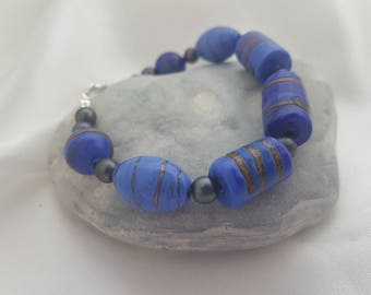 Glass Bead Bracelet dark blue