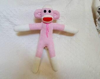 Silvia the Pink Sock Monkey 19 inches by monSOCKeys, Handmade Red Heel Sock Monkey, Stuffed Monkey, Toy, Novelty Gift, Pink Monkey, Doll