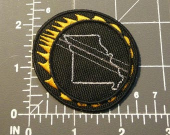 Solar Eclipse Patch showing totality path thru Missouri / embroidery / iron on / patch