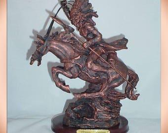 Warrior on Horse 1990s Western Theme Desk Statue