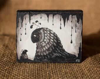 Original Acrylic Painting - Parent & Child - Wooden Block, Freestanding - Desk Decoration - Dark, Alternative, Fantastic Creatures
