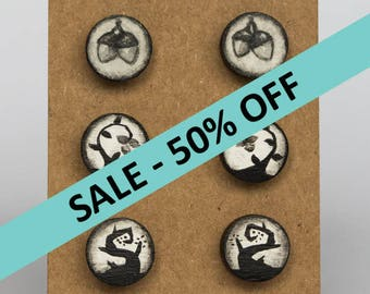 SALE!! Nature Trio - Three pairs - Small hand painted wooden stud earrings - Great birthday present