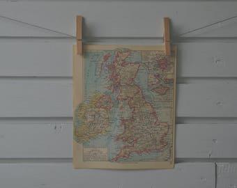 1936 Vintage Map of United Kingdom & Ireland