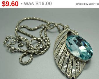 Vintage Blue and Rhinestone Necklace N5068