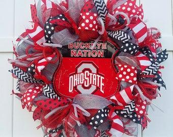 Ohio State Wreath, Ohio State Buckeyes Wreath, Ohio State University Wreath, Buckeyes Wreath, Buckeye Nation Wreath, Bucks Wreath