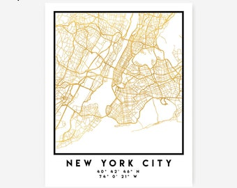 New York City Map Coordinates Print - New York City Street Map Art Poster, Gold New York Map Print, New York United States Coordinates Map