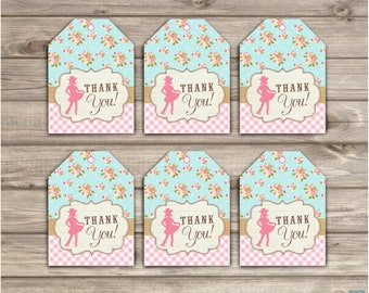 Cowgirl Tags Thank You Gift Tags Horse Birthday Favor Tags TT777