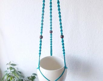 Cotton macrame plant hanger-MANY COLORS - 37''  (95 cm) long-Modern indoor plant stand made from cotton yarn, suitable as a baby room decor