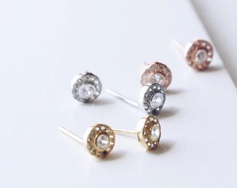 E1086 - Sterling Silver Tiny Halo Circle Pave Studs Earrings