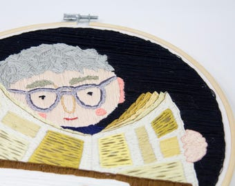 Embroidered illustration, Portrait of an old man | Hand stitched