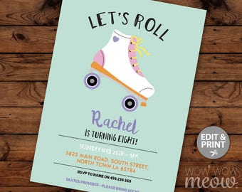 Let's Roll Invitation Roller Skating Birthday Party INSTANT DOWNLOAD Rollerskate Invite Girls Personalise Skate Customize Edit Printable