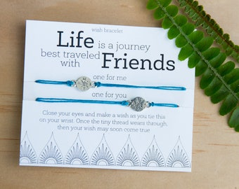 Life is a Journey Wish Bracelet, Gift for Friend, Travel Gift, Friendship Bracelet, Birthday Card, Make a Wish, Stars, Set Of Two Bracelets