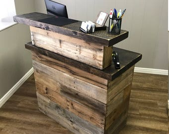 Reclaimed Wood Sales Counter, Rustic Retail Counter, Point of Sales Desk