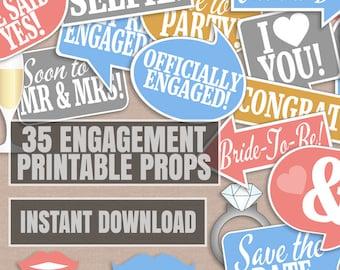 35 Engagement photo props, engagement party photo booth props, engaged selfie props, photobooth selfies, speech bubbles, engagement props