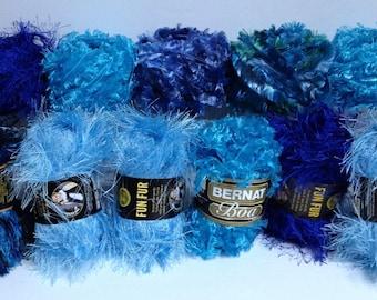 Lion Brand Fun Fur Stripes Bernat Boa Sapphire Blue Turquey Turquoise Deep Blue Fancy Yarn Bundle Novelty Yarn Textures for Fiber Art Supply