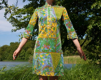 60s 70s Psychedelic Glitter Emilio Pucci-inspired Dress