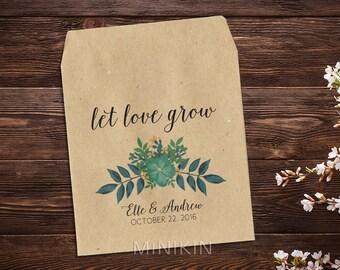 Botanical Wedding Favor, Custom Seed Packets, Wedding Seed Packet, Seed Packet, Rustic Wedding Favor, Green Wedding, Wedding Favour x 25