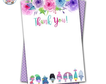 Trolls Thank You Note, Trolls Birthday, Trolls Party