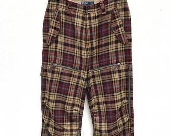 20% OFF Vintage Polo Ralph Lauren Plaid Pants / Polo Ralph Lauren Tartan Zipper Pants / Casual Pants