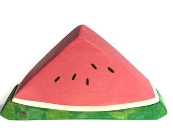 Watermelon Slice Block Wood Toy Stacker