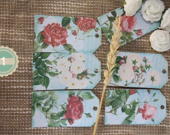 20 tags shabby chic pink (choose model)