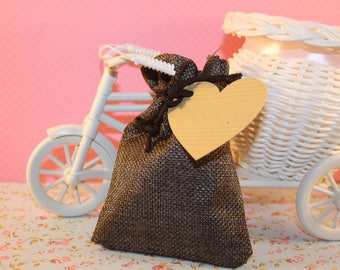 Pouch or Sachet cottage or country chic style Brown burlap with a heart shaped kraft tag - style