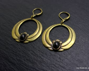 art deco earrings, earrings, onyx
