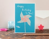 summer birthday card, windmill on the beach, blue sky, happy birthday to you, for a beach lover, sunshine birthday car by inkpaintpaper