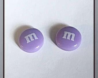 Purple M&M Stud Earrings
