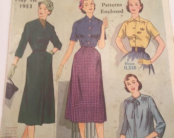 10 x Australian Home Journals, 1953 to 1955, all have their free dress patterns inside.