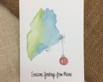 State Christmas Card, Maine Christmas Card, Original Watercolor Card, State Watercolor, Custom Christmas Card, Custom Card