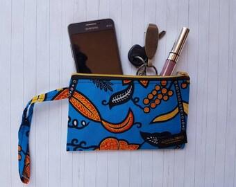 SALE: African Print Wristlet/ pouch/ wristlet