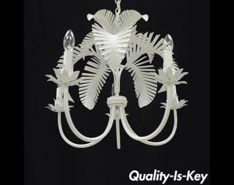 Vintage Palm Leaf Chandelier Hollywood Regency Italian Chic Tole Metal toleware
