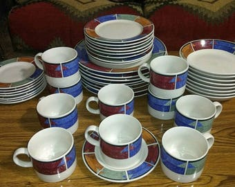 43 piece sakura astral genuine stoneware dinnerware set full 5 pc service for 8