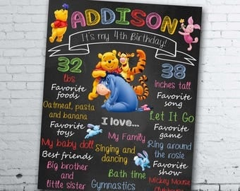 Winnie the Pooh Birthday Chalkboard - Winnie the Pooh Chalkboard - Winnie the Pooh Birthday Sign - Winnie the Pooh Poster