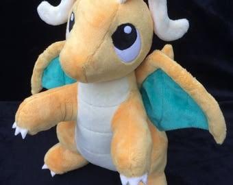 Pokemon Dragonite Plush - PenDragons, plush Dragon, Dragonite, Pokemon, collectable, Kairyu, handmade, MADE TO ORDER