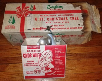 VINTAGE 6 Ft. Evergleam 93 Branch Stainless Aluminum Christmas Tree AND Penetray's Motorized Color Wheel W/ Original Boxes! 1960s Eames!!