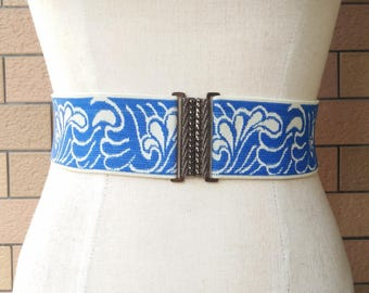 2 inch Electric Blue/off white belt,Elastic belt,Stretch Belt,Cinch BeltWaist belt, Elastic waist belt,Waist belt -(JF)352/000