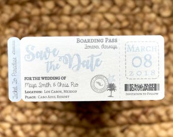 Boarding Pass Wedding Save the Dates