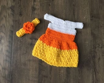 Candy Corn Dress Halloween Costume Photo Prop Handmade Crocheted Ready to Ship Made in the USA