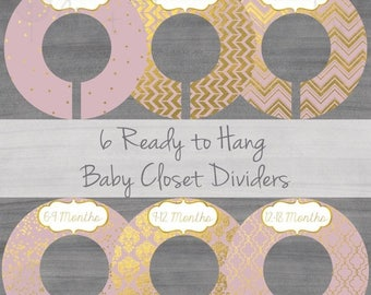 ON SALE - Blush Baby Closet Dividers - Girl Closet Dividers  - Pink Closet Dividers - Gold Foil Closet Dividers- Original Style